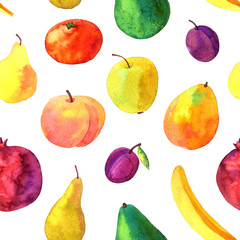 seamless pattern with watercolor drawing fruits