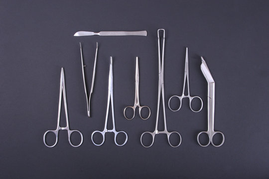 Medical instruments in a steel tray