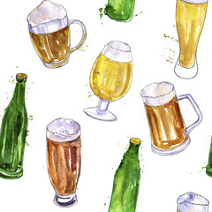seamless pattern with mugs, bottles and glasses of beer