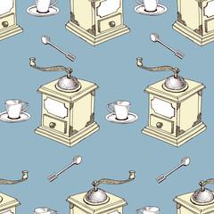 Seamless Coffee Pattern vector illustration.