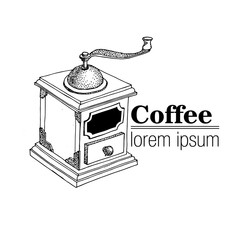 Vintage Style logo with coffee grinder.