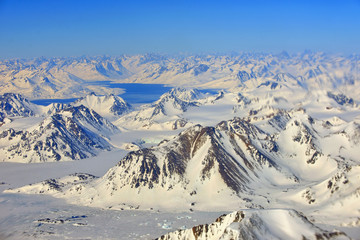 View at Greenland frozen mountains
