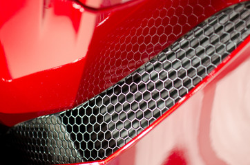 Details of air filter of sport red car