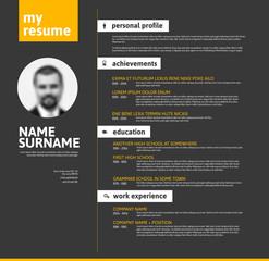 Vector minimalist cv / resume template - yellow black