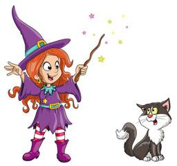 Vektor Illustration einer niedlichen Hexe