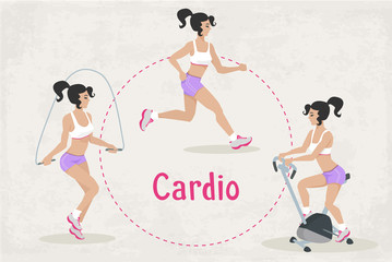 Vector Set of fitness Cardio workout exercises for woman