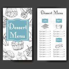 Design for sweets shop. Template with different hand drawn desserts. Menu design for bakery or baking shop.