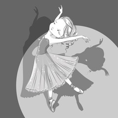 Retro illustration of beautiful ballerina. Black and white. She is dancing in light, beautiful  dress and she's legs in ballet slippers.  Hand drawn illustration.