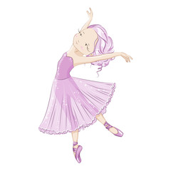 Beautiful ballerina with slender legs in ballet slippers, pointe shoes. Hand drawn illustration. Graceful little White Swan. She is dancing in light, beautiful pink dress.