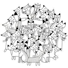 Circle shape pattern with cute foxes for coloring book