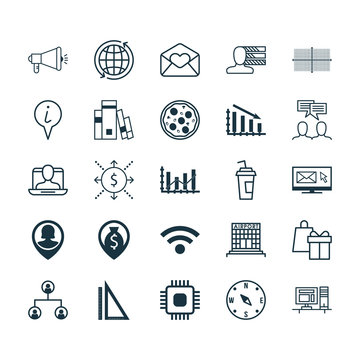 Set Of 25 Universal Editable Icons. Can Be Used For Web, Mobile And App Design. Includes Elements Such As Personal Skills, World, Greeting Email And More.