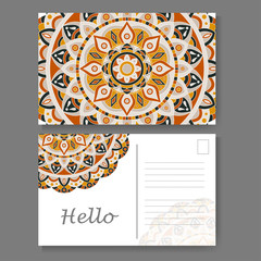 Vintage mandala design for postcard. Vector illustration. Design for greeting card with decorative ornament