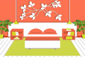 Bedroom interior with furniture , a carpet, bedside tables, bed, lamps, plants, books. Flat design. Vector illustration