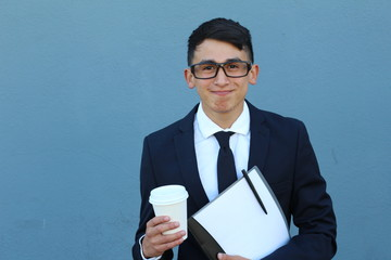 Funny Young Man in Glasses - Stock image with Copy Space