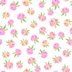 Floral seamless pattern with hand drawn red roses in watercolor