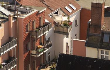 Häuser in Schwerin im Sonnenschein