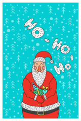 Cartoon character Santa Claus. Vector Santa Claus perfect for printing on greeting cards. Santa Claus holding a gift with background of snowflakes and Christmas trees.