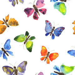 Hand drawing watercolor seamless pattern of butterflies on white background. Hand painting texture. Set of butterflies
