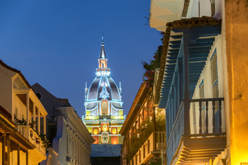Fototapete - Cartagena Cathedral at Night