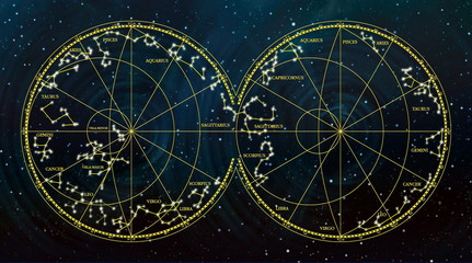 sky map depicting constellations and zodiac signs.