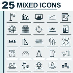 Set Of 25 Universal Editable Icons. Can Be Used For Web, Mobile And App Design. Includes Elements Such As Online Identity, Decorated Tree, Operator And More.