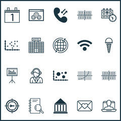 Set Of 20 Universal Editable Icons. Can Be Used For Web, Mobile And App Design. Includes Elements Such As Keyword Marketing, Presentation, Comparison And More.