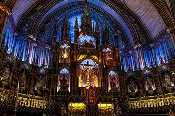 Spectacularly illuminated altar in enormous basilica