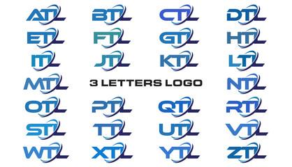 3 letters modern generic swoosh logo ATL, BTL, CTL, DTL, ETL, FTL, GTL, HTL, ITL, JTL, KTL, LTL, MTL, NTL, OTL, PTL, QTL, RTL, STL,TTL, UTL, VTL, WTL, XTL, YTL, ZTL