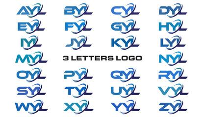 3 letters modern generic swoosh logo AYL, BYL, CYL, DYL, EYL, FYL, GYL, HYL, IYL, JYL, KYL, LYL, MYL, NYL, OYL, PYL, QYL, RYL, SYL,TYL, UYL, VYL, WYL, XYL, YYL, ZYL