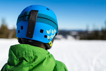 Close-up of back of ski helmet