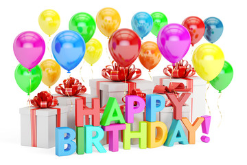 Happy Birthday concept. Happy Birthday colored inscription with
