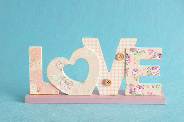 Valentine's Day. Love in pink letters