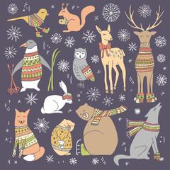 Christmas animals set.