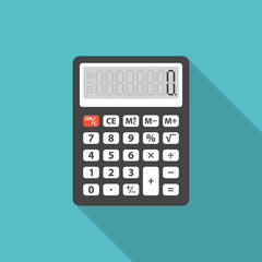 Calculator icon with long shadow. Flat design style. Calculator silhouette. Simple icon. Modern flat icon in stylish colors. Web site page and mobile app design vector element.