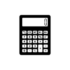 Calculator icon. Black icon isolated on white background. Calculator silhouette. Simple icon. Web site page and mobile app design vector element.