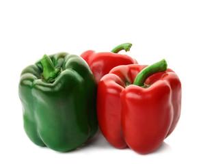 Fresh ripe bell pepper on white background