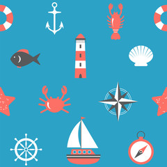 Marine seamless pattern. Nautical background. Sea theme