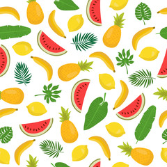 Seamless pattern with bananas, pineapples, tropical leaves and l