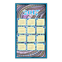 Calendar for the year 2017. Hand-drawn doodles background. Zentagl art. Week starts from Sunday.
