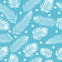Tropical white palm tree leaves seamless pattern. Cute backgroun