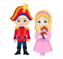 Illustration of very cute Prince and Princess who is holding the nutcracker.