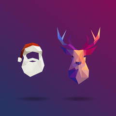 Low poly Santa and reindeer. Flat design vector illustration.