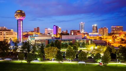 Knoxville, Tennessee City Skyline and City Lights at Night