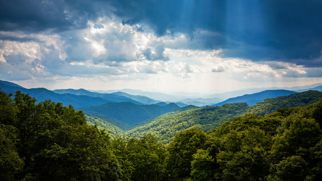 Sunbeams and Storm Clouds Over Appalachian Mountains From Blue Ridge Parkway