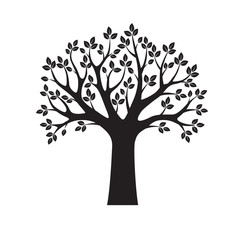 Black Vector Tree and Leafs. Vector Illustration.