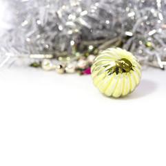 Closeup of blue Christmas balls