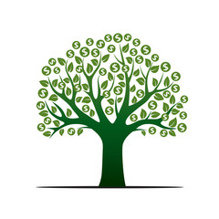Green Vector Tree and Sign of Dollar. Vector Illustration.