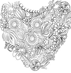 Vector floral heart drawing for coloring book