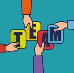 negotiation team work flat icons vector illustration design