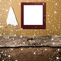 Christmas photo frame card made with old wood and paperboard, greeting message.